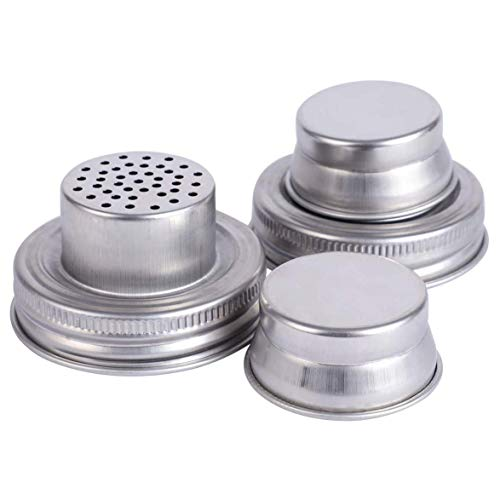 Ctzrzyt Mason Jar Shaker Lids 2 Pack Shake Cocktails or Your Best Dry Rub - Mix Spices, Dredge Flour, Sugar & More - Fits Any Regular Mouth Canning Jar - Durable Rust Proof Steel
