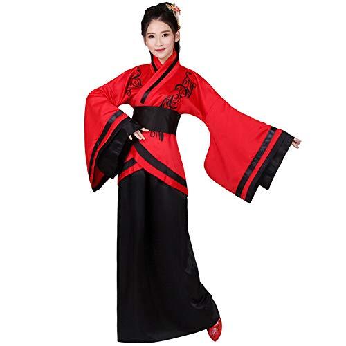 Xingsiyue Mujer Chino Hanfu Vestido, Antiguo Tradicional Disfraz Traje de Tang Ropa de Rendimiento (Rojo Negro,36)