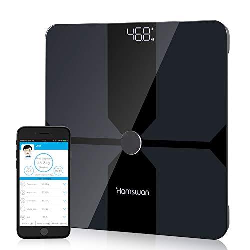 HAMSWAN Personenwaage Körperfettwaage Bluetooth Waage Personen Körperwaage Digitalwaage mit App