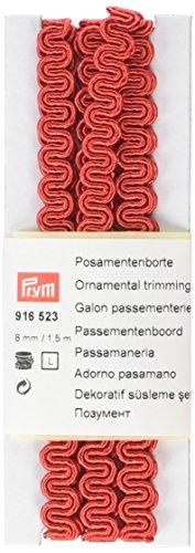 Prym–Tejido RIC-rac Recortar Ornamental, Mezcla de poliéster, Rojo, 8mm, 1,5m