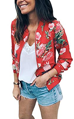 ECOWISH Women's Casual Floral Zip Up Bomber Jacket Coat Stand Collar Lightweight Short Outwear Tops Red M 832 Red Medium from