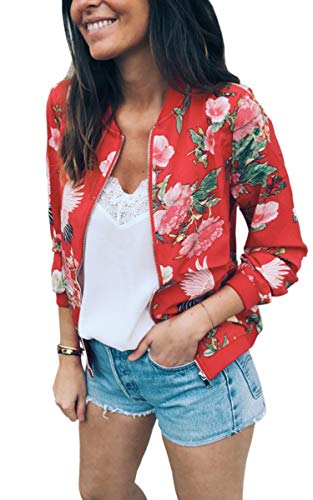 ECOWISH Damen Casual Jacke Blumenmuster Langarm Bomberjacke Reißverschluss Stehkragen Outwear Kurz Coat Herbst Frühling Rot M