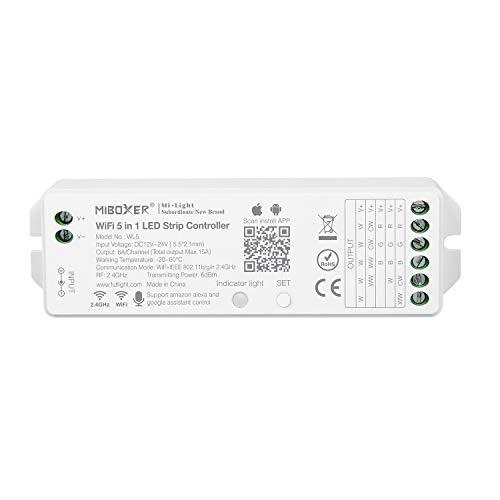 LIGHTEU®, Milight Miboxer 5in1 WiFi LED Streifen Controller, Amazon Alexa Google Home Sprachsteuerung Fernbedienung und APP-Steuerung, keine WiFi-Box erforderlich Kompatibel mit 5 Ausgangsmodi, WL5