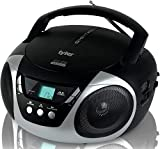 Tyler Portable CD Player Boombox Radio AM/FM Top Loading AC & Battery Compatible Aux Input & 3.5mm Headphone Jack Small Lightweight Compact Boom Box Home Stereo Speakers Carrying Handle Kids Silver