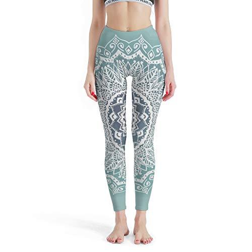 RQPPY Leggings Sport Yoga Sporthose Mädchen Vintage Lace Mandala Trainingshose für Yoga White m
