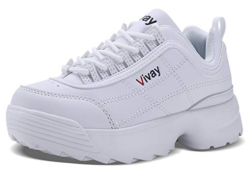 WYHAN Kids' Shoes Girls Retro Sneakers Casual Sports Tennis Shoes for Boys Walking Lace up Fashion Sneakers£¨Little Kid/Big Kid£ White