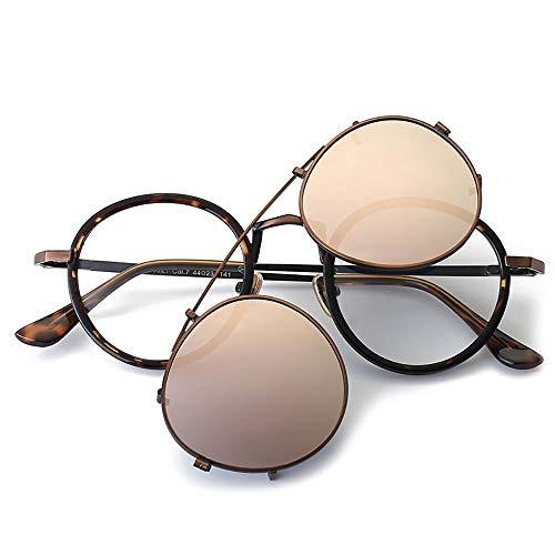 WYHP heren Retro ronde zonnebril, gepolariseerde bril, twee paar glazen gepolariseerde zonnebril voor mannen HD Aviator Lens Golf/rijden/vissen/reizen bril