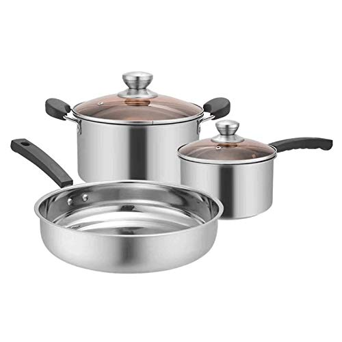 YYCHJU Cookware Set for Gas, Electric and Stovetop 3pcs/set Stainless Steel Pot Soup Pot Nonmagnetic Cooking Multi purpose Cookware Non Stick Pan Induction cooker Pot