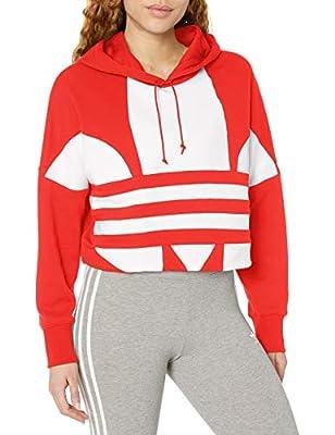 adidas Originals Women's Large Logo Cropped Hoodie Sweatshirt, Lush Red/White, L