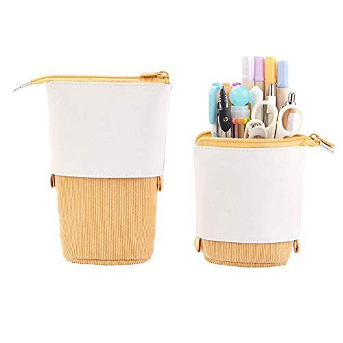 Stand Up Pencil Holder, Teleskop-Pencil Case Stand Up Pen Bag Multifunktionale Pop-Up Pencil Case Standing, Leinwand + PU Briefpapierbeutel Kosmetiktaschen (Gelb)