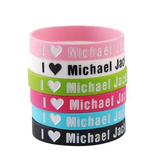 GoodBZ 6pcs I Love Michael Jackson Silicone Wristbands Bracelets,1D Wristbands