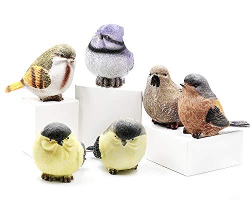 youtu 6 Stück Birdie Figuren Gartendeko, ca.11 x 7 x 8cm, Kunstharz Garten Ornament für den Vorgarten und Hof, Witterungs- und Frostbeständig Nicht verblassen