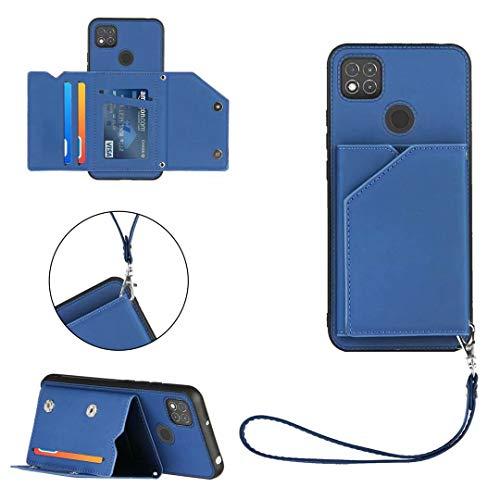 FHXD Kompatibel mit Xiaomi Redmi 9C Hülle mit Kartenhalter PU Leder Wallet Case [Displayschutzfolie] Kartensteckplätze und Standfunktion Stoßfest Schutzhülle-Königsblau