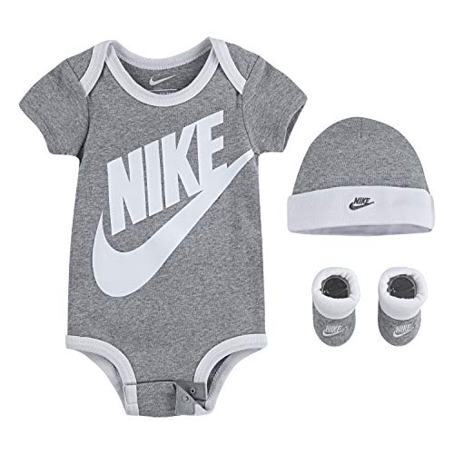 NIKE Children's Apparel Baby Hat, Bodysuit and Booties 3-Piece Gift Box Set, Grey Sportswear, 0/6M