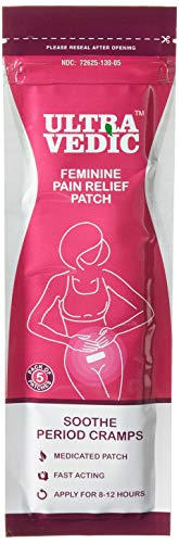 Feminine Pain Relief Care for Cramps | Period Pain | Menstrual Pain | Count - 5 + Large + Patches + Natural Medicinal Menthol | 8-12 Hours Relief OTC Anti-Inflammatory