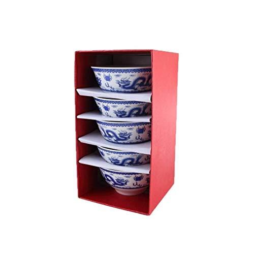 lachineuse 5 Bols à Riz Dragons Chinois - Teinte Bleu de Chine