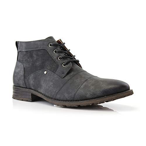 Ferro Aldo Blaine MFA806035 Mens Casual Brogue Mid-Top Lace-Up and Zipper Boots Charcoal