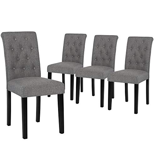 Set of 4 Upholstered Fabric Dining Chairs with Button-Tufted Details (Gray)