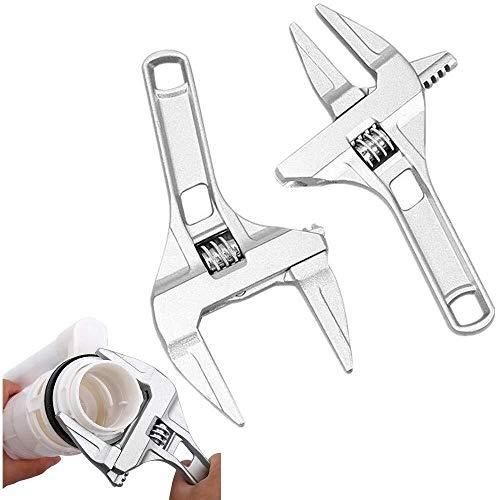 CLJ-LJ Paquete de 2 Llave mecánica, 16-68mm vástago corto grandes aberturas ultrafinos Llave de aluminio de aleación de herramientas de reparación de baño, lavabo, Tubo Tuerca de desmontaje