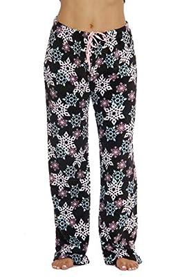 6339-10167-1X Just Love Women's Plush Pajama Pants - Petite to Plus Size Pajamas,Black - Snowflake,1X Plus