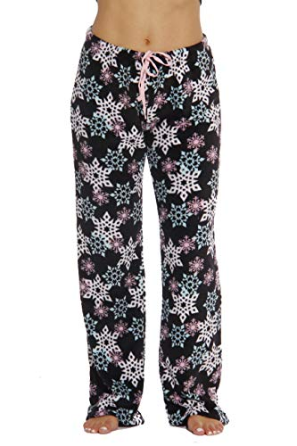6339-10167-XL Just Love Women's Plush Pajama Pants - Petite to Plus Size Pajamas,Black - Snowflake,X-Large