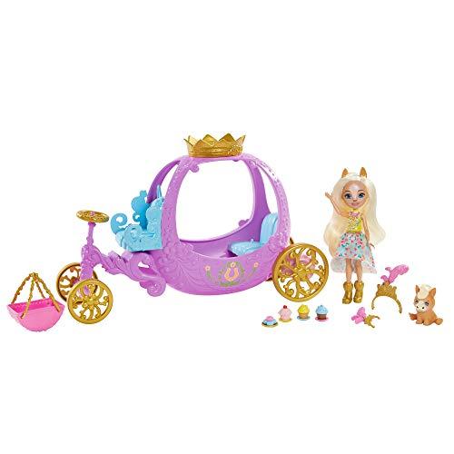 Royal Enchantimals Muñeca pony con carruaje real, mascota y accesorios de juguete (Mattel GYJ16)