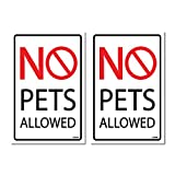 (2 Pack)No Pets Allowed Sign, Self-Adhesive Vinyl Stickers, Indoor and Outdoor Signs, 5.85 x 8.85' Vinyl Decal, UV Protected & Waterproof, Sleek, Business Warning Sign, Warning Sign Decals