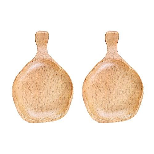 YRA Plato de salsa de madera con forma de S-akura japonesa, plato creativo de madera maciza de haya, condimento Bowl aceite de salsa de soja