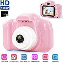 Kids Digital Camera for Girls Boys,Womdee Mini Rechargeable Childrens Digital Camera,Shockproof Video Camcorder Birthday Kids 3-12 Age Outdoor Play Game,1080P HD Video,16GB TF Card Included