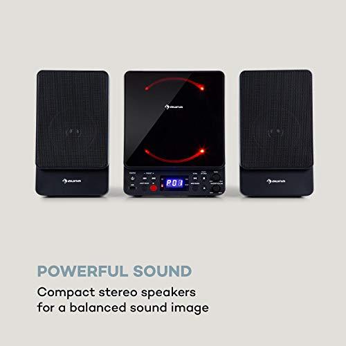 auna Microstar - Microsystem, Vertikalanlage, CD-Player, Bluetooth, Stereo-Lautsprecher, USB-Port, UKW-Tuner, AUX-In, LC-Display, LED-Ambientlight, Wandinstallation oder Standgerät, schwarz