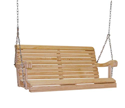 Ecommersify Inc 4 Feet Ft Made in The USA Cypress Lumber Roll Back Porch Swing with Rot-Resistant Cypress Eternal Wood. Stainless Steel Fasteners