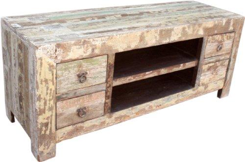 Guru-Shop Lowboard, TV-tafel, Platte Ladekast Vintage Look - Model 7, Bruin, 56x137x46 cm, Ladekasten Dressoirs