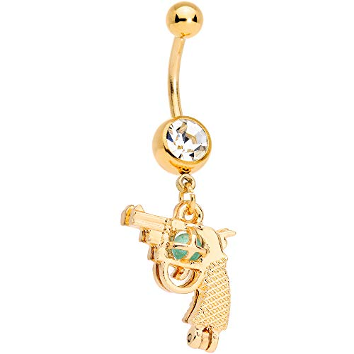 Body Candy Plated Steel Navel Ring Piercing Clear Accent Glow in The Dark Gun Dangle Belly Button Ring