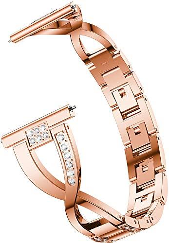 Chainfo kompatibel mit Amazfit GTR 42mm / GTS/Bip/Bip Lite Armband, Edelstahl Uhrenarmband Quick Release Ersatzband (20mm, Rose Gold)