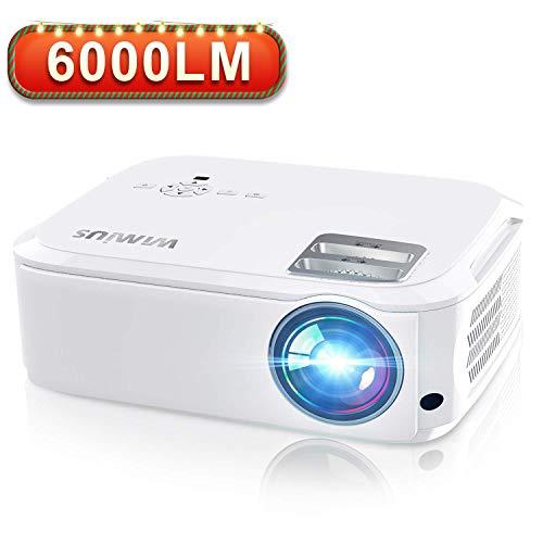 Videoproiettore,WiMiUS 6000 Lumen Nativa 1080P LED Proiettore Full HD Con 300'' Display Supporto 4K Per presentazione Computer PPT, Smartphone, PC,PS4,Tvbox,Laptop