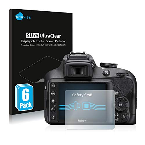 savvies Protector Pantalla Compatible con Nikon D3400 (6 Unidades) Pelicula Ultra Transparente