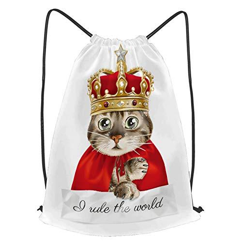 fudin Impermeable Bolsa de Cuerdas Saco de Gimnasio lema lindo gato rey disfraz ilustracin Deporte Mochila para Playa Viaje Natacin