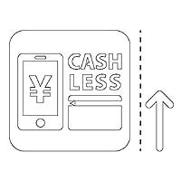 キャッシュレス CASHLESS 電子マネー クレジットカード 案内 シール ステッカー カッティングステッカー(矢印付き) 光沢タイプ・防水 耐水・屋外耐候3~4年【クリックポストにて発送】 (白, 100)
