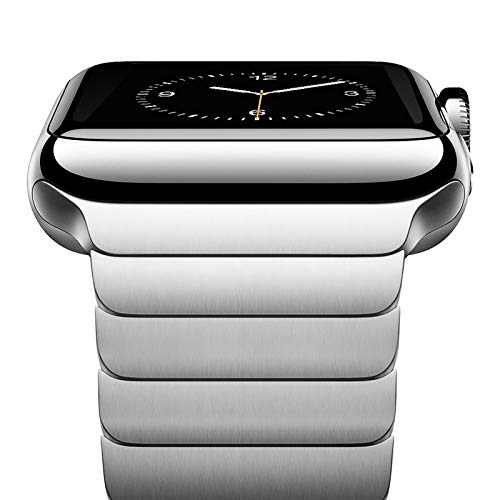 NewWays Metal Band Compatible with Apple Watch Band 42mm 44mm Series 3 4 5 6 Stainless Steel Link Band for Men Women, Silver