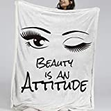 BlessLiving Black Eyelashes Fluffy Microfiber Fleece Throw 3D Girly Sherpa Bed Blanket with Quotes Cute Eye Bedspread Modern Long Lashes Soft Fuzzy Cozy Lightweight (Twin, 60 x 80 Inches)