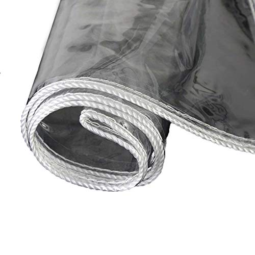 ZHCHL Tarps Heavy Duty PVC Waterproof Clear 1.5X1.5m, Tarpaulin with Grommets Outdoor Cover, Plastic Transparent Tarp Canvas, for Plants Greenhouse, Pet Hutch Roof