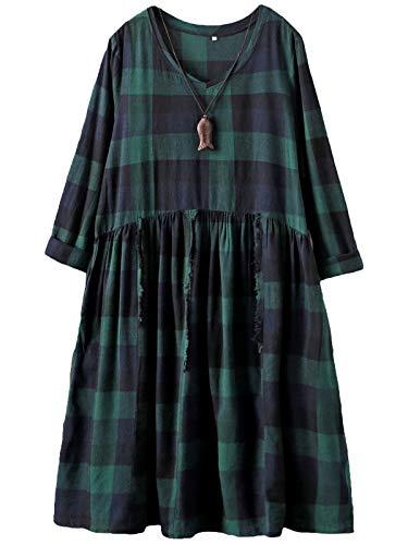 FTCayanz Damen Kariertes T-Shirt Kleider Langarm Blusenkleid V-Ausschnitt A-Linie Lang Maxikleid Grün 2XL