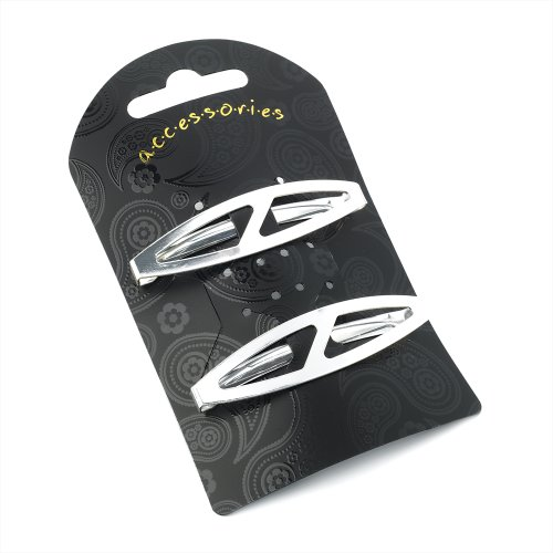 Pair of Silver Slash Design Unsprung Hair Barrette Clips Slides 6cm (2.4) by Pritties Accessories