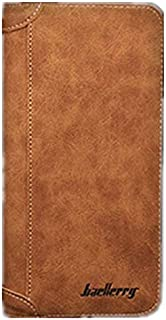 Baellerry Fashion Leather Long Bifold Wallet for men - Brown