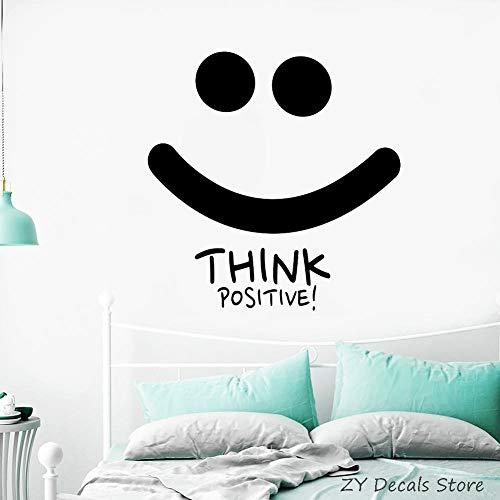 jiushivr Think Positive Smile Tatuajes de Pared Motivación Citas Inspiración Etiqueta de la Pared Decoración del hogar DormitorioOficina Tatuajes de Arte56 X 57 CM