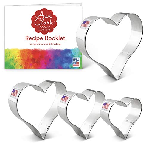 Ann Clark 4-Piece Heart Cookie Cutters For Aroma Beads with Biscuit Cookie Recipe Booklet, 2.75