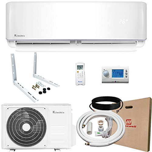 Klimaire 12,000 BTU KSIV 19 SEER Ductless Mini-Split Inverter Air Conditioner Heat Pump System with 15-ft Installation Kit, Wall Bracket, and Wireless Motion Remote Control 115V