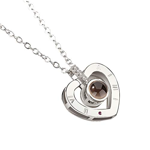 Bellaluee Alloy Love Pendant 100 Languages I Love You Shaking Sounds with Projection Clavicle Chain Sweater Necklace