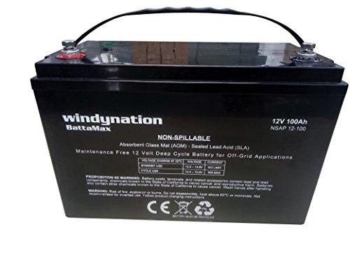 WindyNation 12V 100 Amp-Hour (240 Minute Reserve Capacity) AGM SLA...
