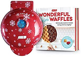 Dash Wonderful Mini Waffle Gift Set Red with White Snowflakes and Recipe Book